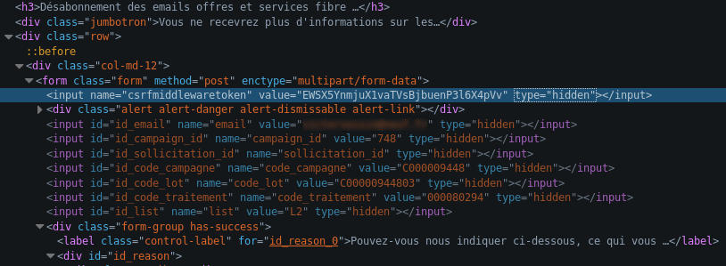Champs cachés dans le HTML